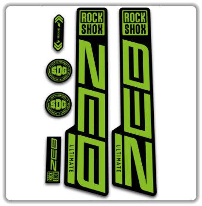 green ROCKSHOX ZEB ULTIMATE fork stickers