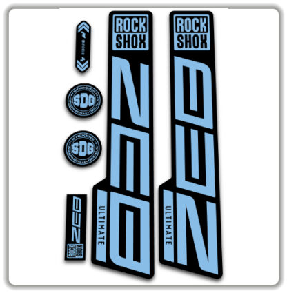 light blue ROCKSHOX ZEB ULTIMATE fork stickers