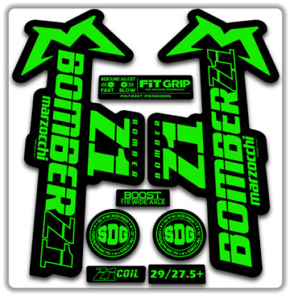 2020 Marzocchi Bomber Z1 GRIP Fork Stickers Fluorescent Green