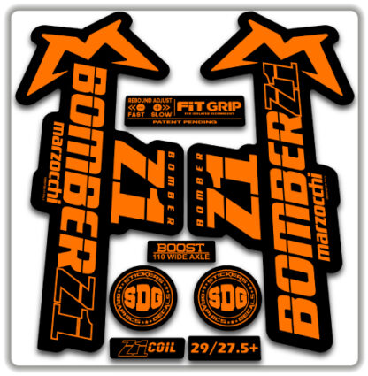 2020 Marzocchi Bomber Z1 GRIP Fork Stickers Fluorescent Orange