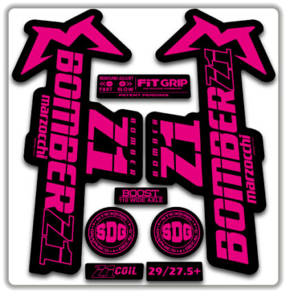 2020 Marzocchi Bomber Z1 GRIP Fork Stickers Fluorescent Pink