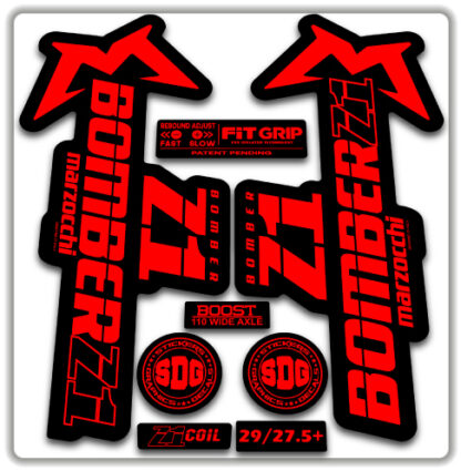 2020 Marzocchi Bomber Z1 GRIP Fork Stickers Fluorescent Red