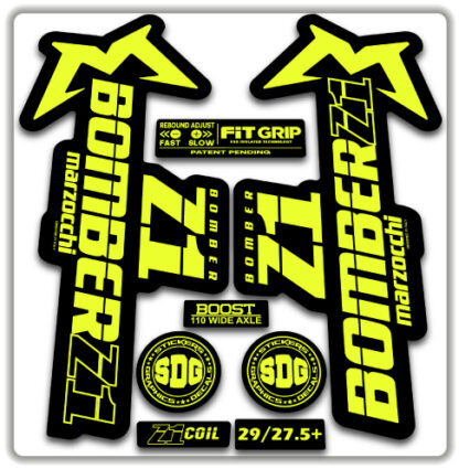 2020 Marzocchi Bomber Z1 GRIP Fork Stickers Fluorescent Yellow