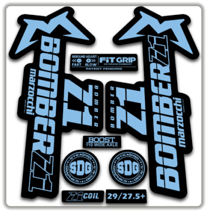 2020 Marzocchi Bomber Z1 GRIP Fork Stickers Light Blue