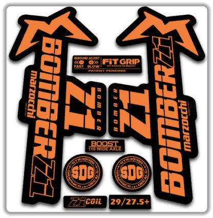 2020 Marzocchi Bomber Z1 GRIP Fork Stickers Orange