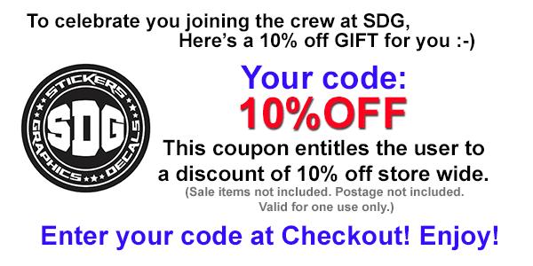 Stickers Decals Graphics coupon code