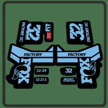Fox 32 Step Cast Fork Stickers 2018 Light Blue
