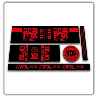 Fox Float DPX2 rear shock stickers red