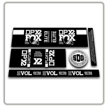 Fox Float DPX2 rear shock stickers white