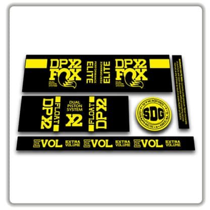 Fox Float DPX2 rear shock stickers yellow