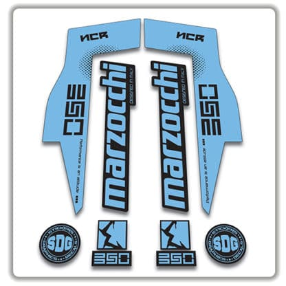 Marzocchi NCR350 Fork Stickers light blue