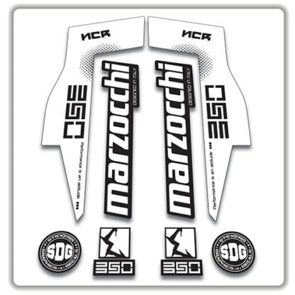 Marzocchi NCR350 Fork Stickers white