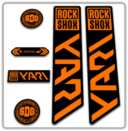 ROCKSHOX YARI 2020-21 Fork Stickers Fluorescent Orange