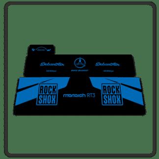 Rockshox Monarch RT3 rear shock stickers blue