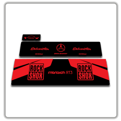 Rockshox Monarch RT3 rear shock stickers red