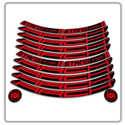 Stans No Tubes 27.5 Arch ZTR MK3 Rim Stickers red