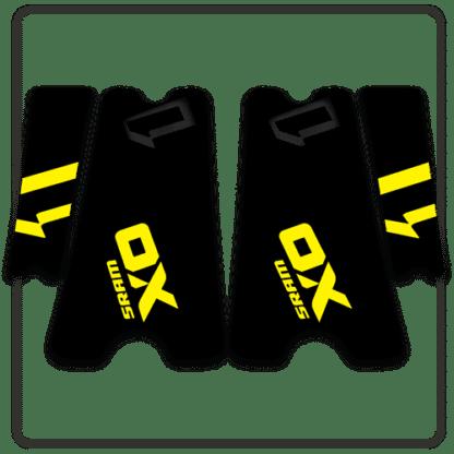 Yellow SRAM X01 crank arm stickers