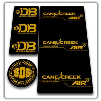 cane creek double barrel air rear shock stickers gold