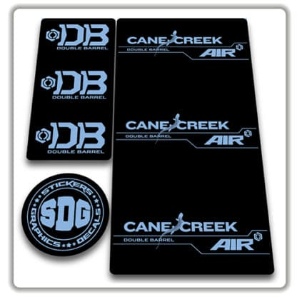 cane creek double barrel air rear shock stickers light blue