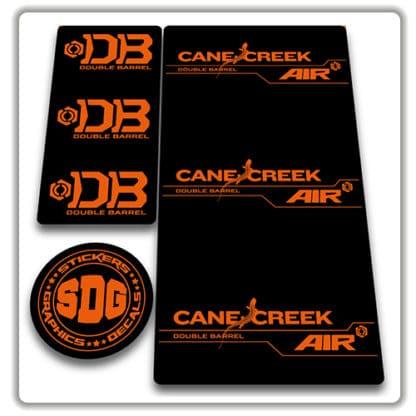 cane creek double barrel air rear shock stickers orange