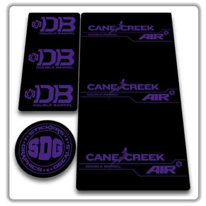 cane creek double barrel air rear shock stickers purple