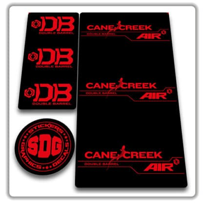 cane creek double barrel air rear shock stickers red