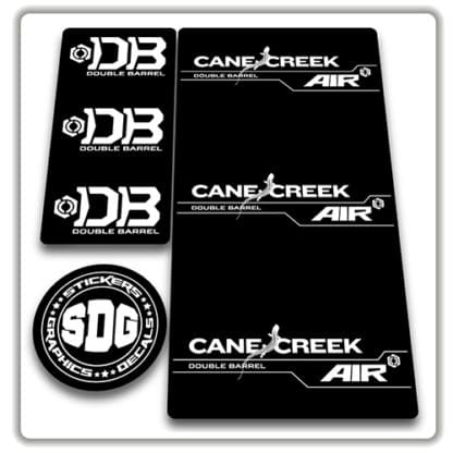 cane creek double barrel air rear shock stickers white