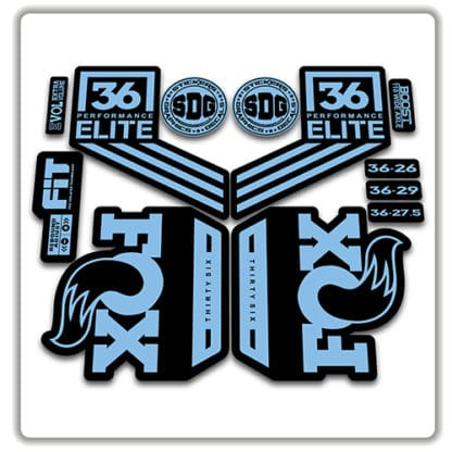 fox 36 performance elite 2018 fork stickers light blue