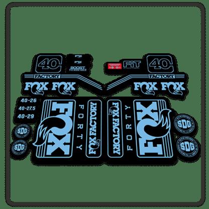 fox float 40 fork stickers 2016 2017 light blue