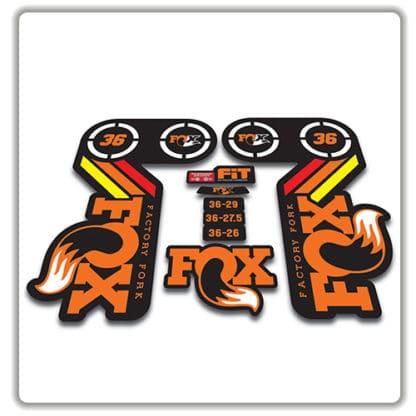 fox heritage 36 fork sticker in rainbow orange