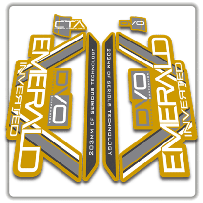gold dvo emerald fork stickers