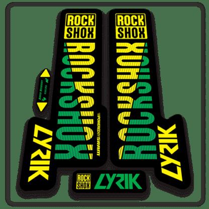 green and yellow rockshox lyric fork stickers 2018