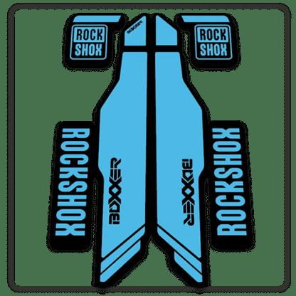 light blue rockshox boxxer 2014 2015 fork stickers