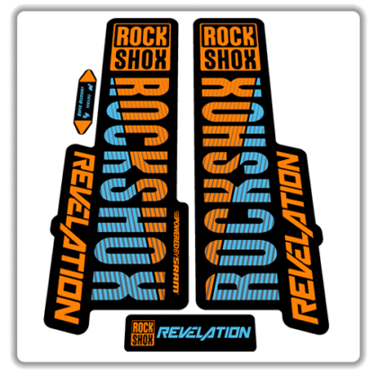 orange and blue rockshox revelation fork stickers 2018