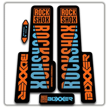 orange & blue rockshox boxxer 2018 fork stickers