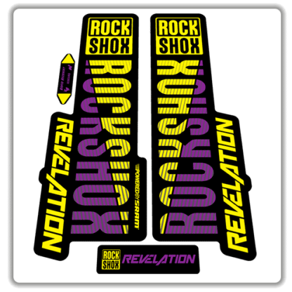purple and yellow rockshox revelation fork stickers 2018
