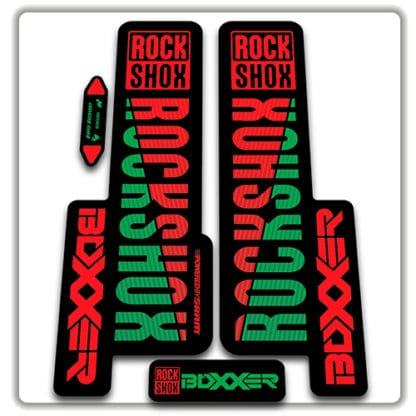 red and green rockshox boxxer 2018 fork stickers