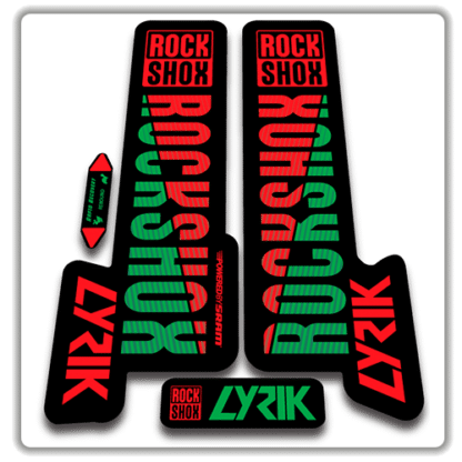 red and green rockshox lyric fork stickers 2018
