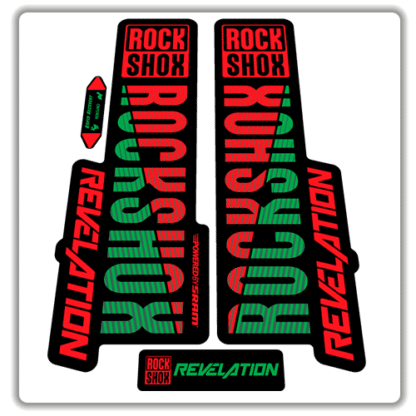 red and green rockshox revelation fork stickers 2018
