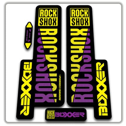 rockshox boxxer 2018 fork stickers purple and yellow