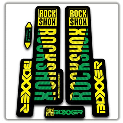 rockshox boxxer 2018 fork stickers yellow and green