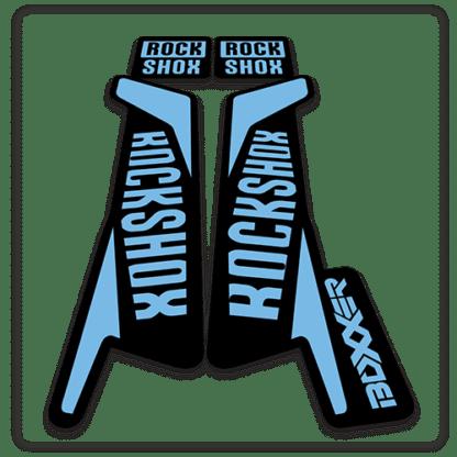rockshox boxxer fork stickers in light blue
