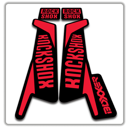 rockshox boxxer fork stickers in red