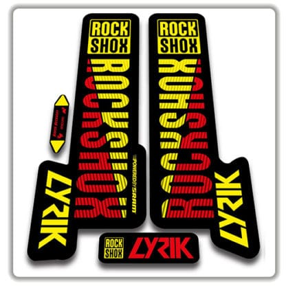 rockshox lyric fork stickers red and yellow