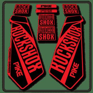 rockshox pike fork stickers in red