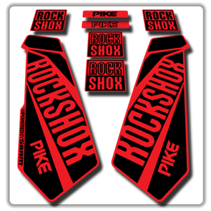 rockshox pike fork stickers in red