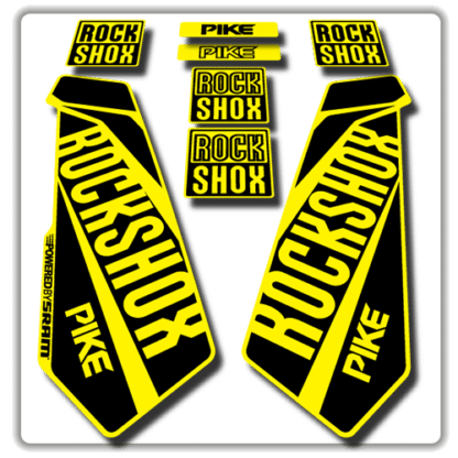 rockshox pike fork stickers in yellow