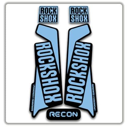 rockshox recon 2015 2017 fork stickers light blue