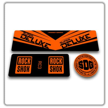 rockshox super deluxe rc3 rear shock stickers orange