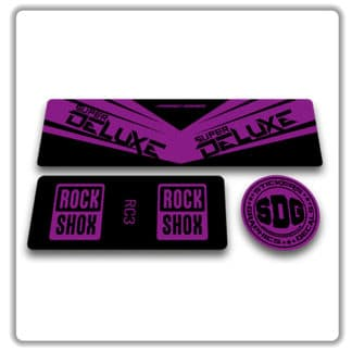 rockshox super deluxe rc3 rear shock stickers purple